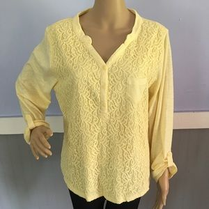 Nine West pale yellow long sleeved T-shirt size xl
